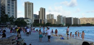 An image of waikiki from the beach