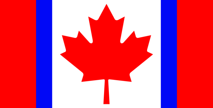 The Canadian flag depicting the maple leaf