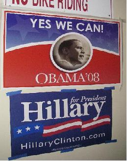 Democratic poster for Hillary Clinton and Barack Obama