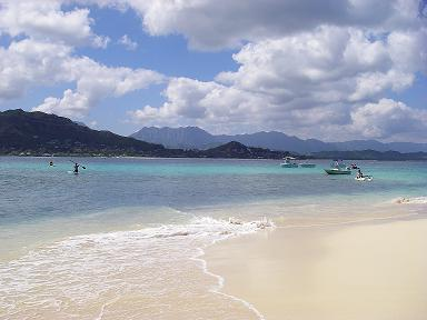 View of Lanikai Beach from the Mokulua Islands in Kailua