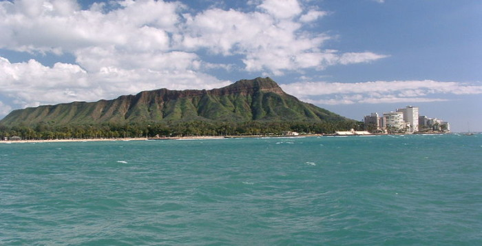 The view of Diamond Head and the blue water off of Waikiki
