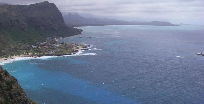 Majestic mountains and blue waters shown near Makapuu lookout on Oahu