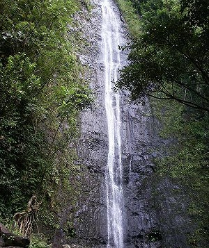 Water rushing down the side of a mountain inside Manoa Valley at Manoa Falls