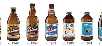 A lineup of different Primo beer bottles over history
