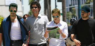 Actors shown in a scene from the TV show Entourage