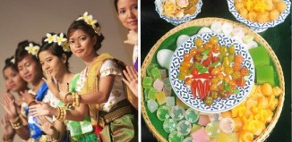 A group of women in Cambodian dancers and a platter of Cambodian food