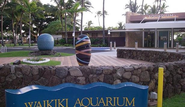 An exterior photo of the Waikiki Aquarium in Waikiki