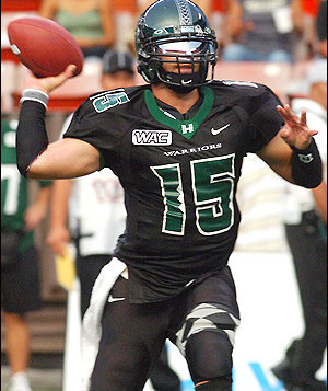 A University of Hawaii football player throws a football