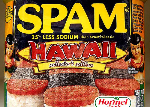 A can of spam with Hawaii shown on the logo