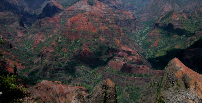The view above Waimea Canyon on Kauai with majestic peaks and valleys