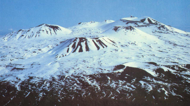The summit of Mauna Kea with snow