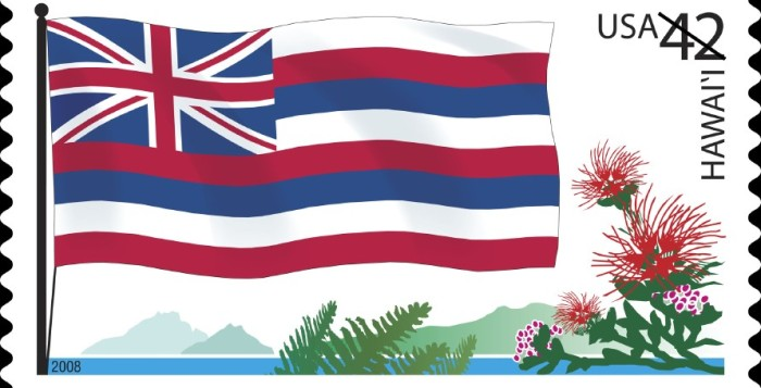 A postal stamp depicting the Hawaii state flag and flora