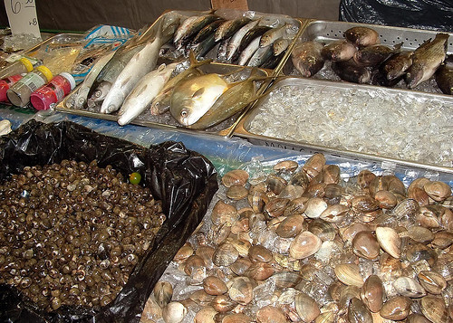 Various Hawaiian fish displayed on ice