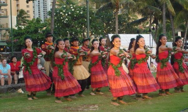 Traditional hula dancers pose
