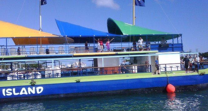 The side of the Kandoo Island activity vessel