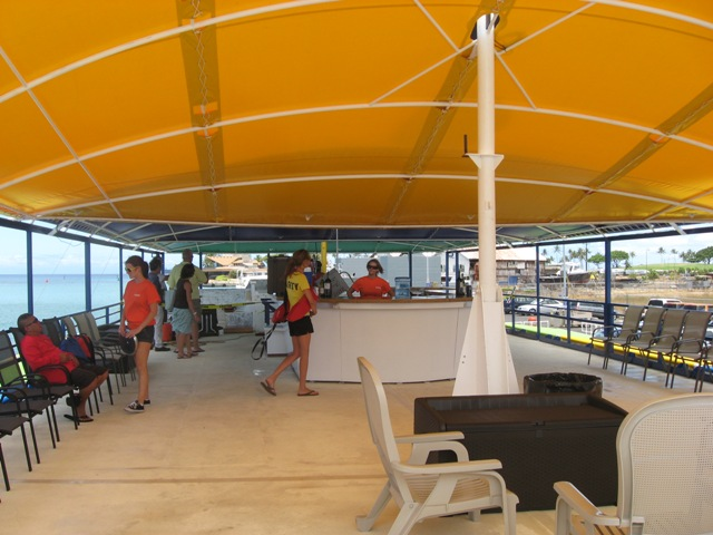 The interior of the Kandoo Island activity vessel