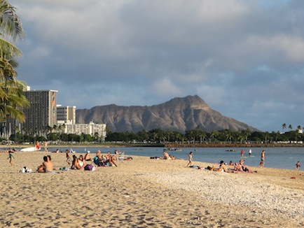 Diamond Head with Waikiki beach on left