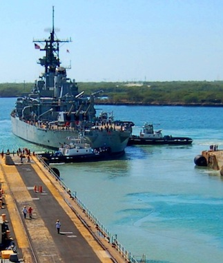 The USS Missouri battleship from the front