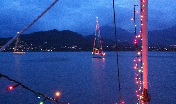 Christmas Lights on Sailboats in Hawaii