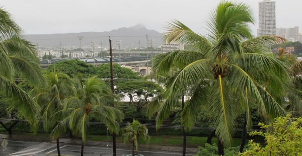 A rainy day in Honolulu with Diamond Head in the background