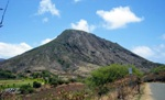Koko Head Crater surrounded by dry brush