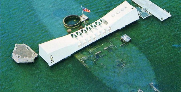 Arieal view of the USS Arizona Memorial at Pearl Harbor