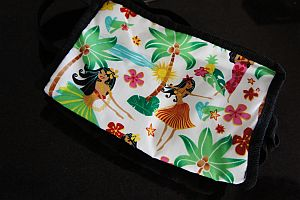 A small cloth bag with a hawaiian print