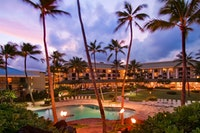 Night aerial shot of the Kauai Beach Resort