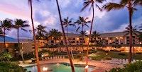Night aerial shot of the Kauai Beach Resort