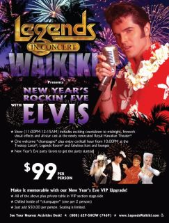 An advertisement for Legends in Concert waikiki