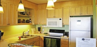 Kitchen in the 1 bedroom condo at the Marc Resorts Pono Kai