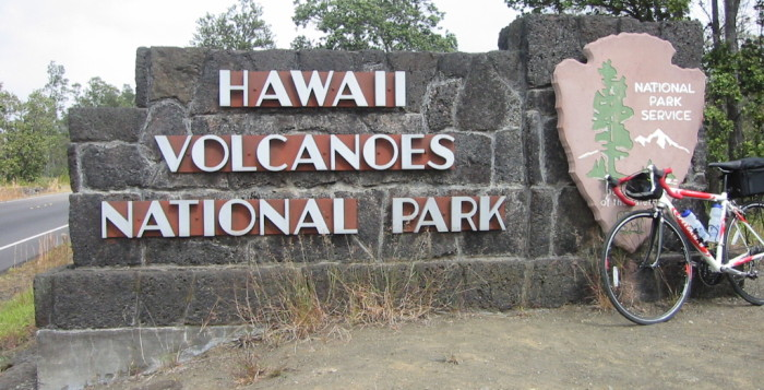 A sign that says Hawaii Volcanoes National Park