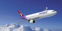 A Hawaiian Airlines jet soars above the clouds