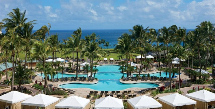 Overlooking the pools and grounds of the Ritz Carlton at Kapalua