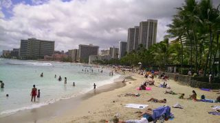 Long shot of Waikiki beach on a cloudy day