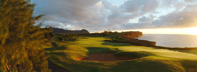 Poipu golf course at sunset