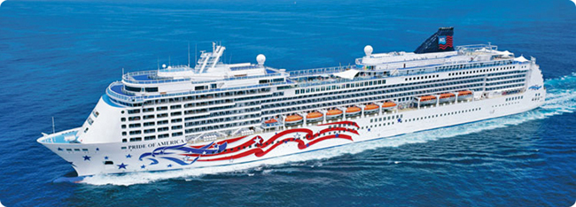 Pride of America cruise ship with American flag painted on the side