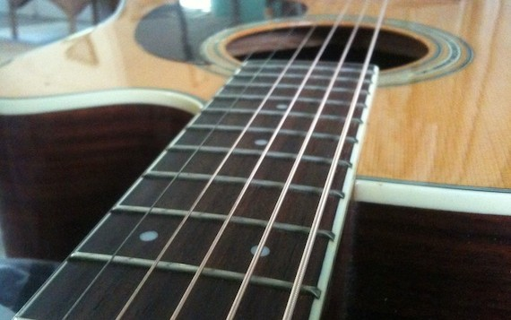 Close up image of guitar tuned to slack key
