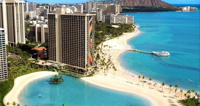 The Rainbow Tower at the Hilton Hawaiian Village overlooking the man-made lagoon and Waikiki Beach