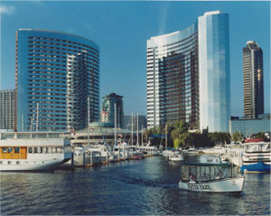 High-rise timeshare buildings fronting Ala Wai Boat Harbor