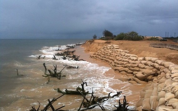 A beach with sandbags to help reduce erosion
