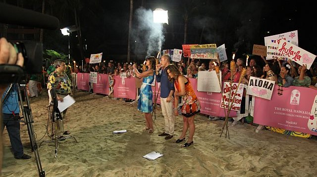 The Today SHow shooting on the beach at the Royal Hawaiian Hotel