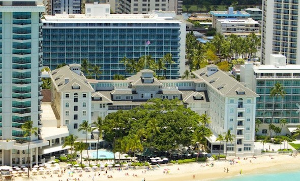 An aerial shot of the Moana Surfrider from the rear