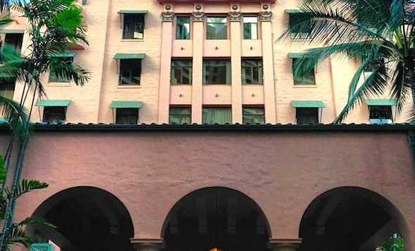 The front entrance of the Royal Hawaiian Hotel