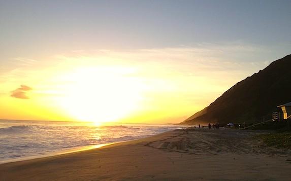 A yellow sunset a yokohama beach