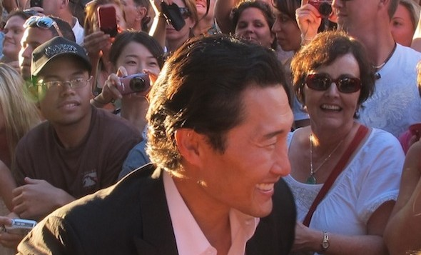 Actor Daniel Dae Kim in front of a crowd