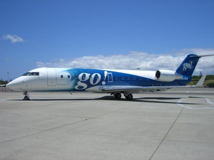 A small regional jet with the Go! airlines livery