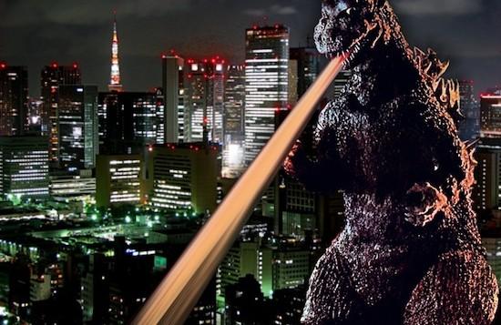 Godzilla lazers a building