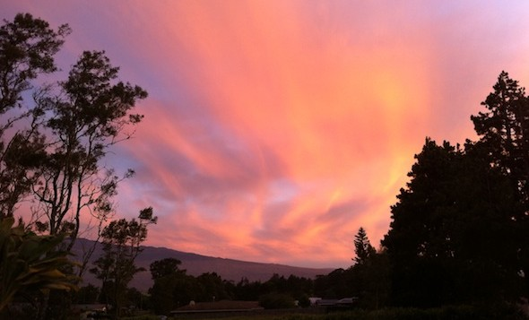 A beautiful pink Big Island sunset