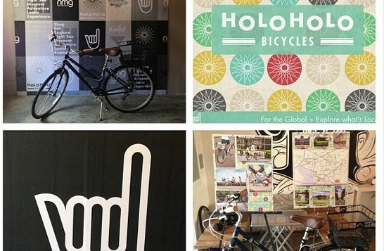 A collage of images representing Holoholo Bicycles